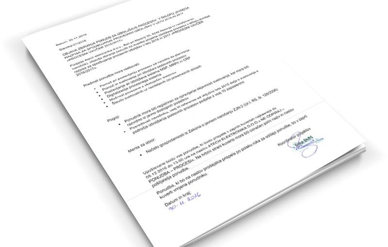 Zbiranje ponudb za izboljšave procesov »Procesni vavčer 2016/2017«