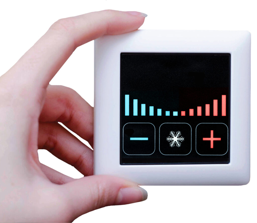 The development project aims to reduce air conditioning costs and energy consumption in tourist accommodation. Our control system with built-in hardware learning features, low-energy Bluetooth smart sensors to detect the guest location, combines separate actuator mechanisms in the room into a single smart unit: the result is significantly improved living conditions.